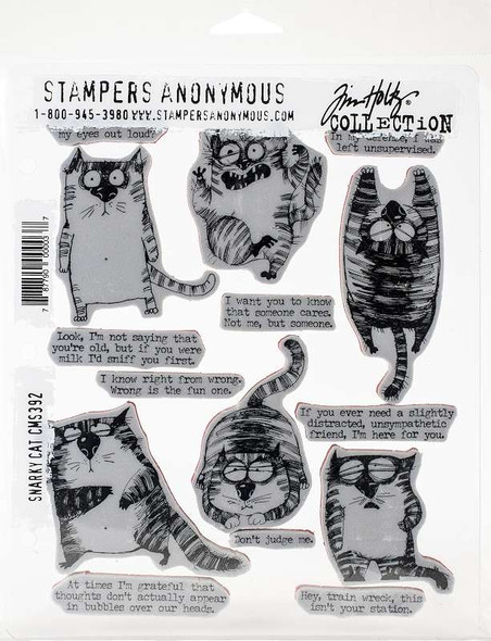 """Tim Holtz Cling Stamps 7""""X8.5"""" Snarky Cat"""
