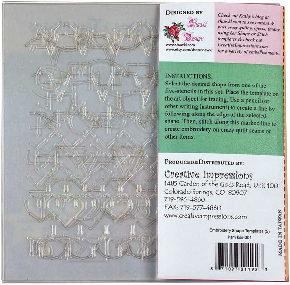 Creative Impressions Embroidery Shape Template Set  5/Pkg
