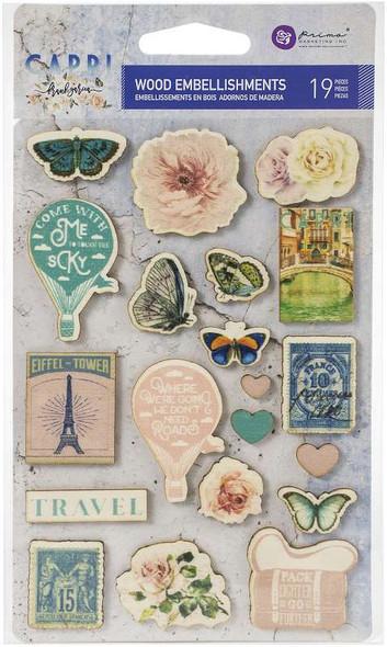 Capri Wood Stickers 19/Pkg