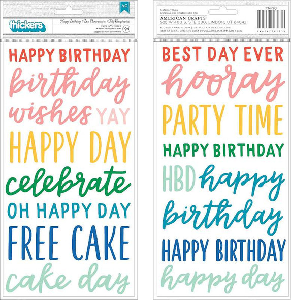 """Happy Cake Day Thickers Stickers 5.5""""X11"""" 104/Pkg Phrase/Puffy"""