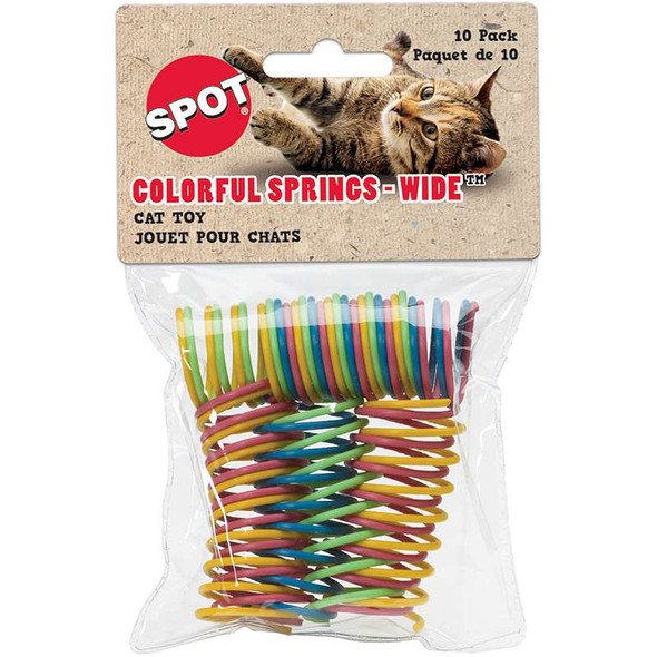 """Colorful 1"""" Wide Spiral Springs Cat Toy 10/Pkg Assorted"""