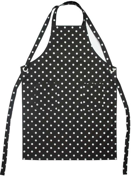 """Dunroven House Adult Apron 34""""X28"""" Black With White Polka Dots"""