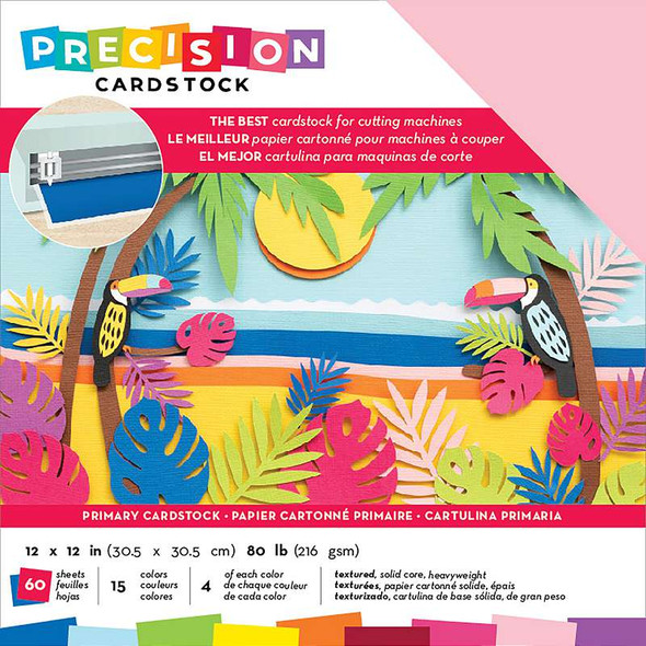 """American Crafts Precision Cardstock Pack 80lb 12""""X12"""" 60/Pkg Primary/Textured"""