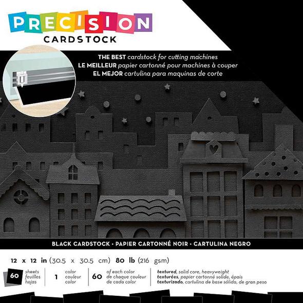 "American Crafts Precision Cardstock Pack 80lb 12""X12"" 60/Pkg Black/Textured"
