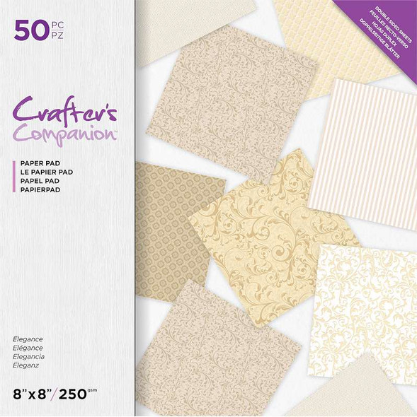 """Crafter's Companion Printed Double-Sided Paper Pad 8""""X8"""" Elegance"""