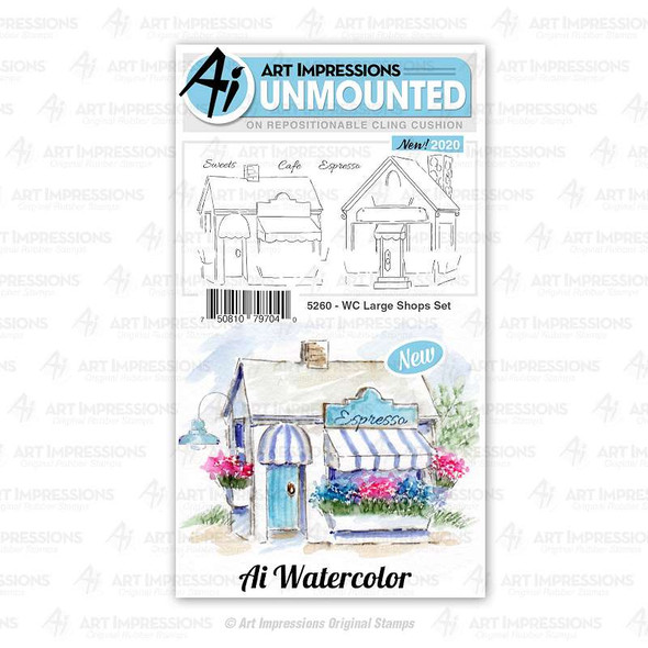 Art Impressions Watercolor Cling Rubber Stamps  WC Large Shops