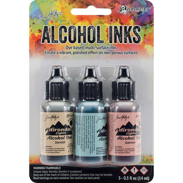 Tim Holtz Alcohol Ink .5oz 3/Pkg Lakeshore-Sandal/Aqua/Salmon