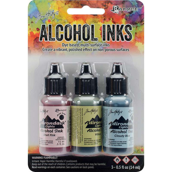 Tim Holtz Alcohol Ink .5oz 3/Pkg Countryside-Shell Pnk/Willow/Cloudy Blue