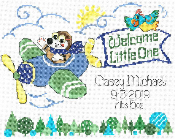 """Imaginating Counted Cross Stitch Kit 9.5""""X7"""" Little Pilot Birth Record (14 Count)"""
