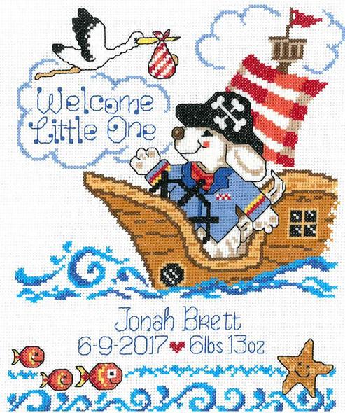 "Imaginating Counted Cross Stitch Kit 8""X10"" Pirate Birth Record"