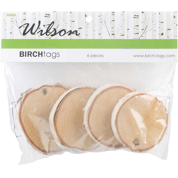 """Natural White Birch Tags 4/Pkg 1.75"""" To 2.75"""""""