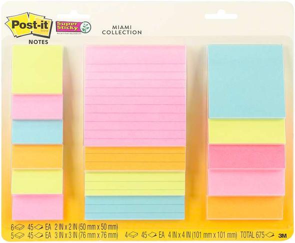 "Post-It Super Sticky Notes Assorted Sizes 15/Pkg Miami 2""X2"", 3""X3"", 4""X4"""