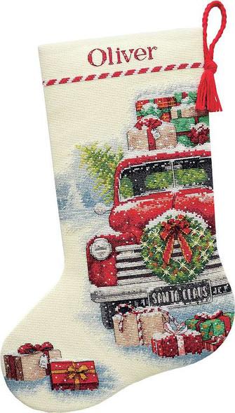 "Dimensions Stocking Cross Stitch Kit 16"" Long Santa's Truck"