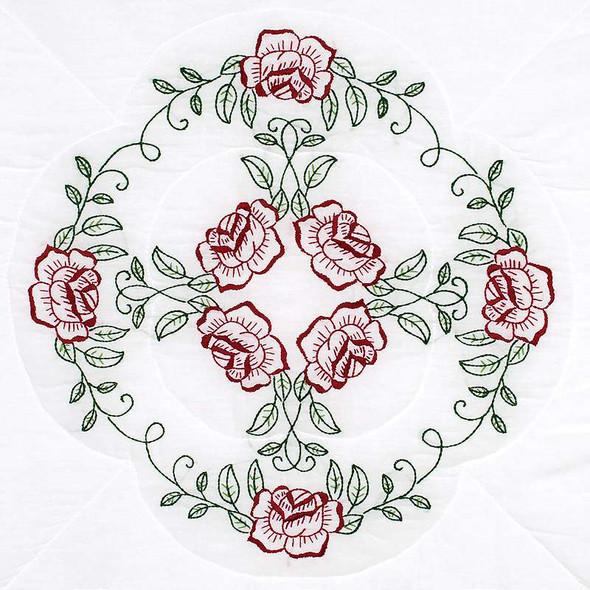 "Jack Dempsey Stamped White Quilt Blocks 18""X18"" 6/Pkg Circle Of Roses"