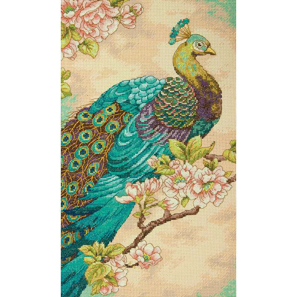 """Indian Peacock Counted Cross Stitch Kit 9""""X15"""" 14 Count"""
