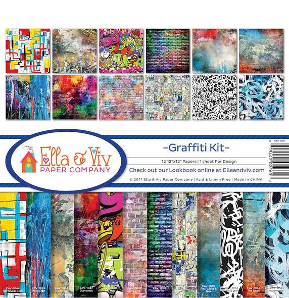 """Ella & Viv Collection Kit 12""""X12"""" Graffiti, 12 Designs/1 Each"""