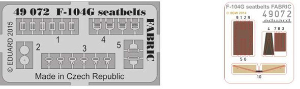 1/48 Aircraft- Seatbelts Fabric-Type F104G for EDU & HSG (Painted)