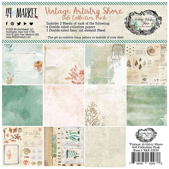 """49 And Market Collection Pack 6""""X6"""" Vintage Artistry Shore"""