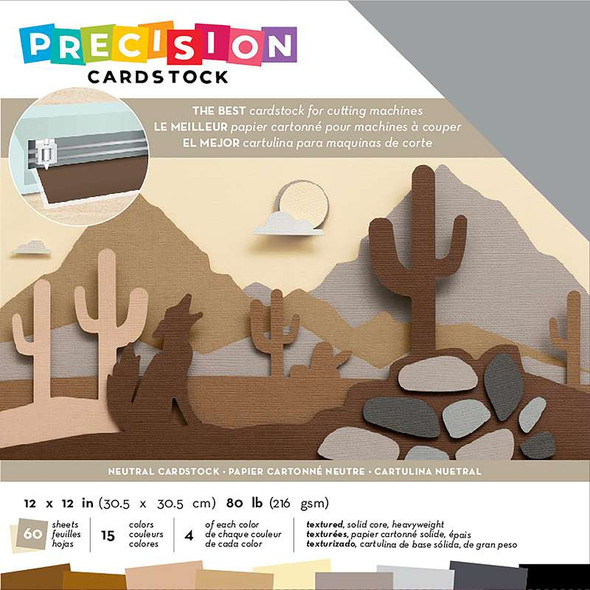 """American Crafts Precision Cardstock Pack 80lb 12""""X12"""" 60/Pkg Neutral/Textured"""