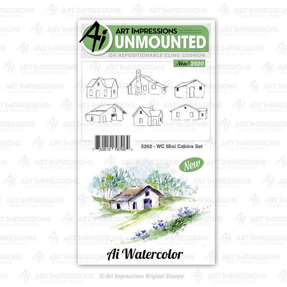 Art Impressions Watercolor Cling Rubber Stamps  WC Mini Cabins