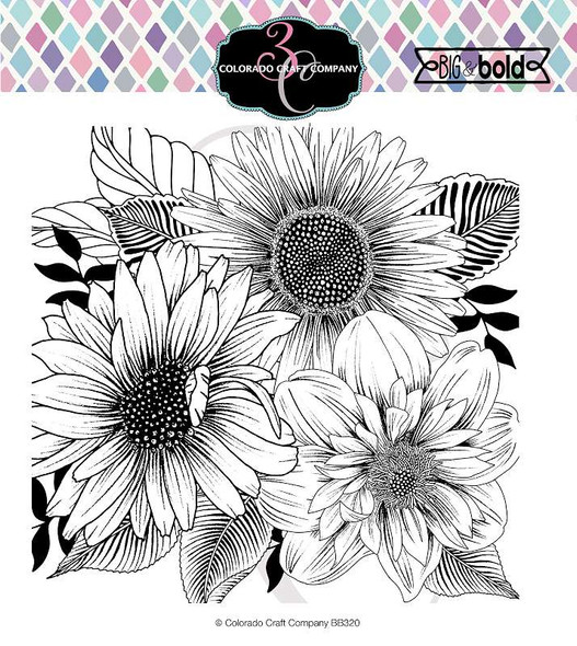 "Colorado Craft Company Clear Stamps 6""X6"" Daisy & Dahlia-Big & Bold"