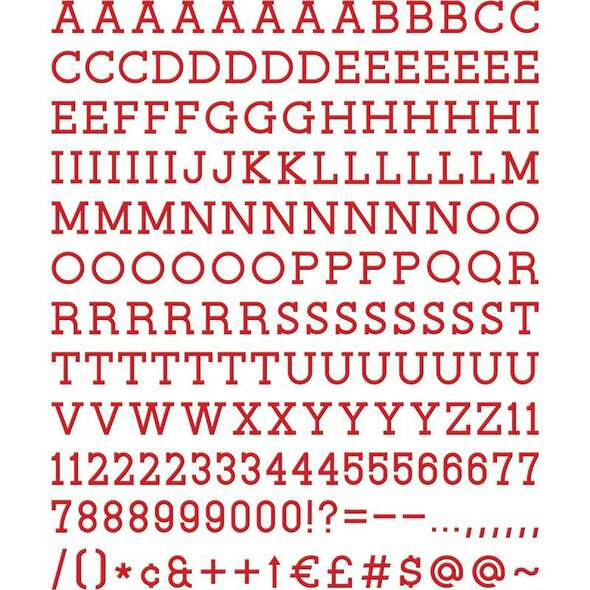 """DCWV Letterboard Letters & Characters 1"""" 188/Pkg Red"""