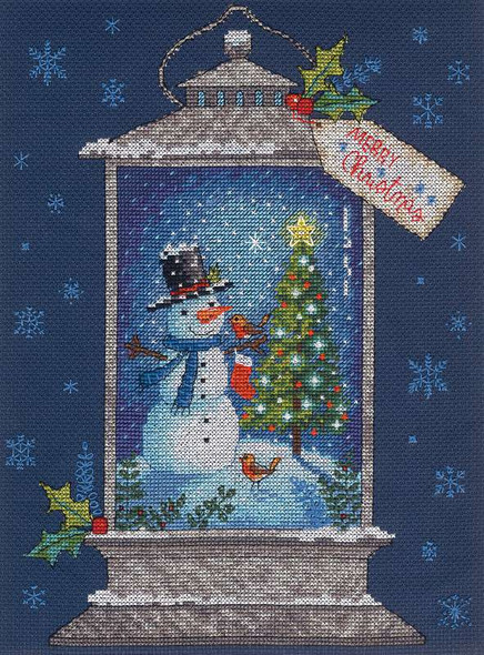 """Dimensions Counted Cross Stitch Kit 9""""X12"""" Snowman Lantern (14 Count)"""