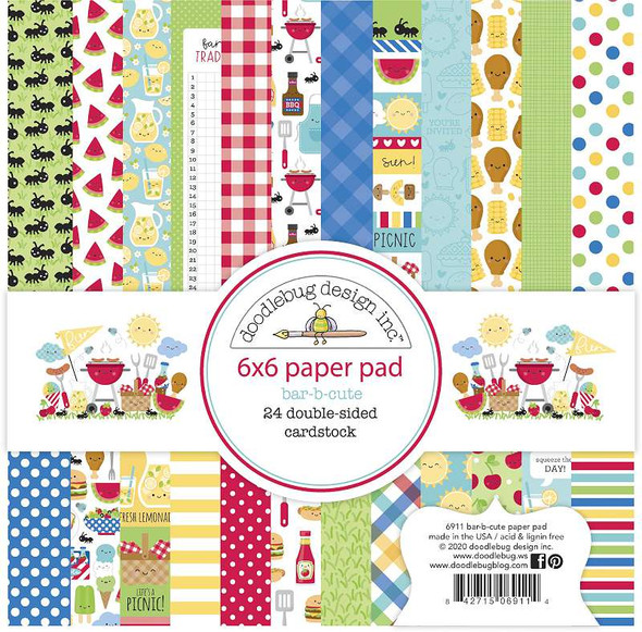 "Doodlebug Double-Sided Paper Pad 6""X6"" 24/Pkg Bar-B-Cute, 12 Designs/2 Each"