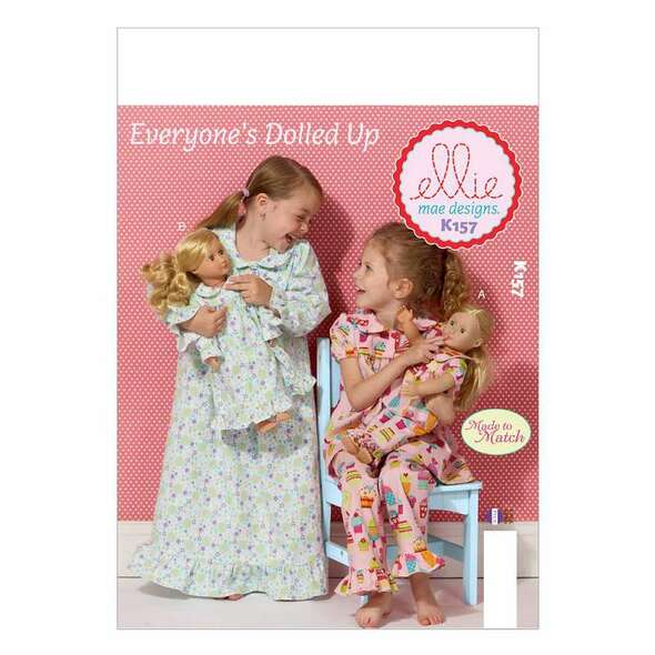 Girls'/18 Doll's Loungewear-All Sizes in One Envelope