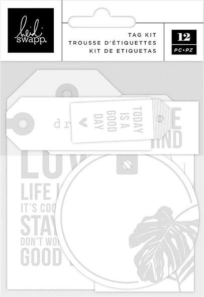 Heidi Swapp Art Walk Embossed Tag Kit 12/Pkg White