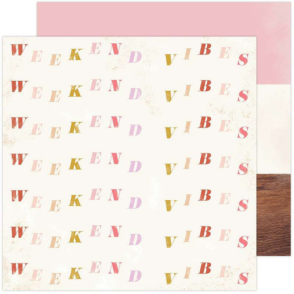 "Heidi Swapp Old School Double-Sided Cardstock 12""X12"" Weekend Vibes"
