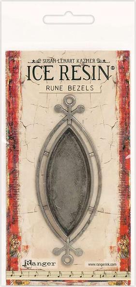 Ice Resin Rune Bezel Ellipse Antique Silver