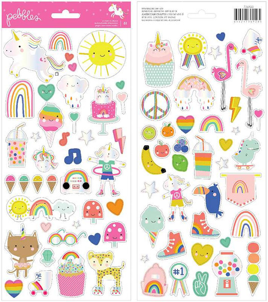 """Live Life Happy Cardstock Stickers 6""""X12"""" 81/Pkg Icons W/Foil Accents"""