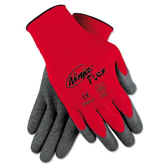 MCR™ Safety Ninja Flex Latex-Coated-Palm Gloves, Nylon Shell, Large, Red/Gray