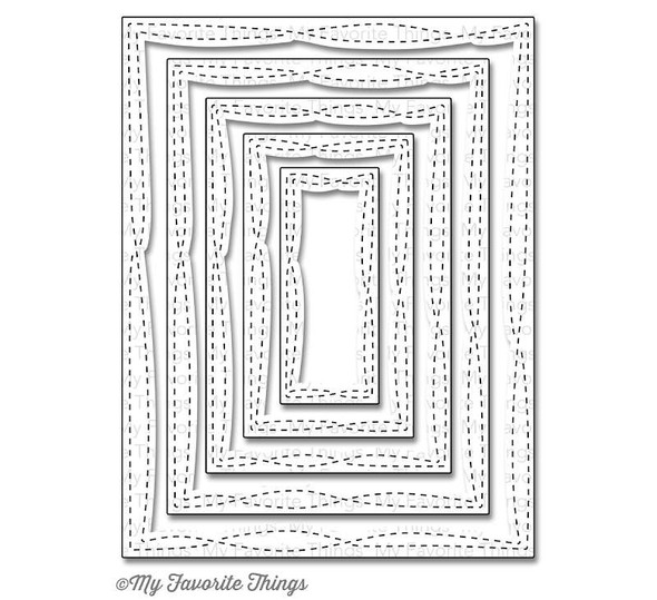 """My Favorite Things Die-namics STAX Dies Wonky Stitched Rectangle, 1"""" To 5.25"""""""