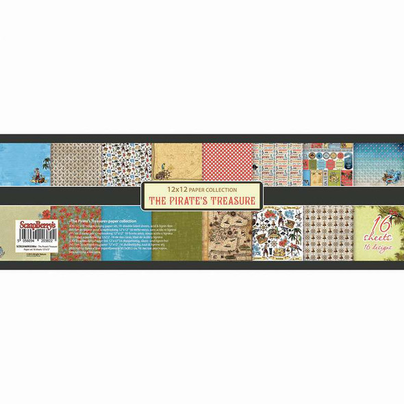 """ScrapBerry's The Pirate's Treasure Paper Pack 12""""X12"""" 16/Pkg 8 Double-Sided Designs/2 Each"""
