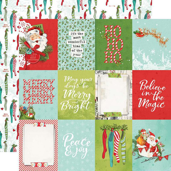 """Simple Vintage North Pole Double-Sided Cardstock 12""""X12"""" 3""""X4"""" Elements"""