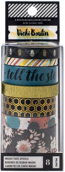 Vicki Boutin Wildflower & Honey Washi Tape 8/Pkg W/Gold Holographic Foil Accents