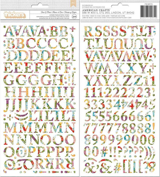 American Crafts Chipboard Alphabet Stickers Time & Place, 244/Pkg