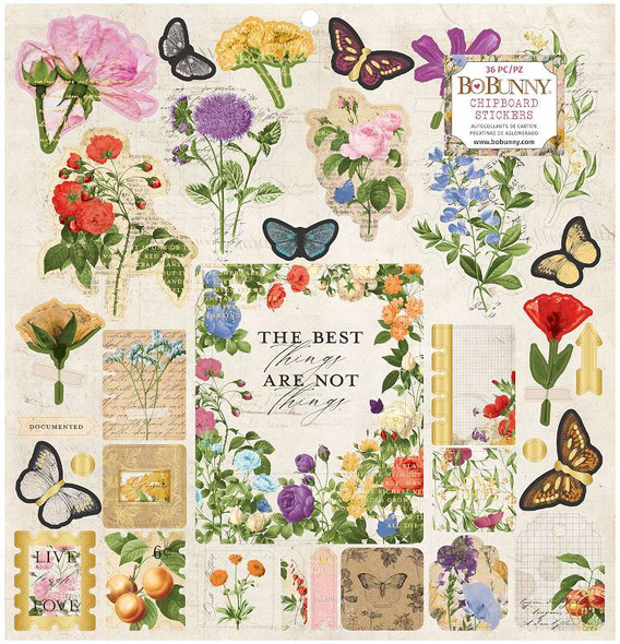 """Botanical Journal Chipboard Stickers 12""""X12"""" W/Gold Foil Accents"""
