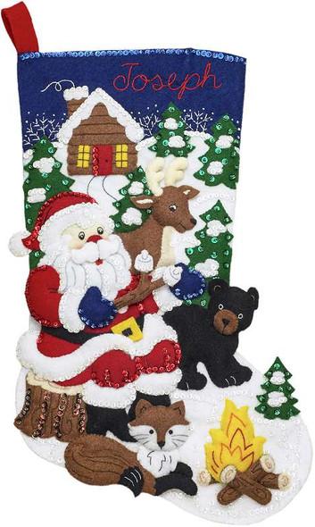 """Bucilla Felt Stocking Applique Kit 18"""" Long Santa's Black Bear Cabin"""