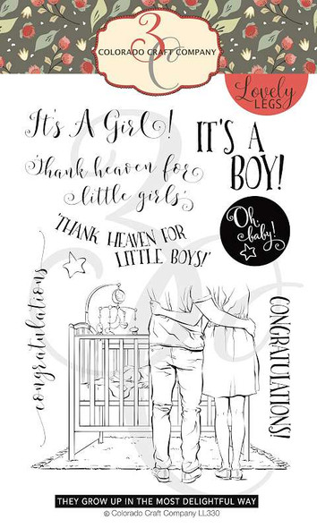 """Colorado Craft Company Clear Stamps 4""""X6"""" Baby Congrats-Lovely Legs"""