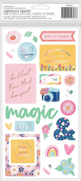 """Dear Lizzy She's Magic Thickers Stickers 5.5""""X11"""" 44/Pkg Delightful Phrase & Icons/Chipboard"""