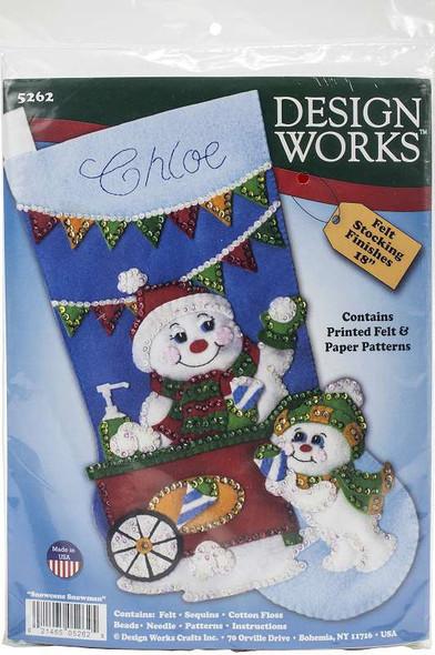 "Design Works Felt Stocking Applique Kit 18"" Long Snow Cone Snowman"