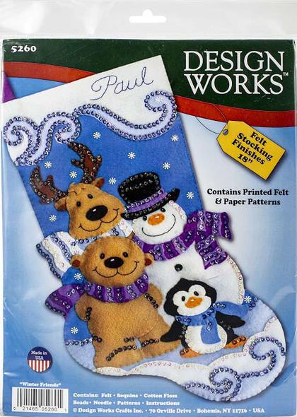 "Design Works Felt Stocking Applique Kit 18"" Long Winter Friends"