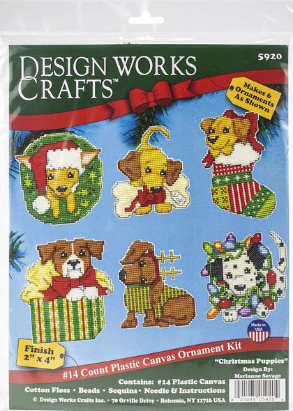"Design Works Plastic Canvas Ornament Kit 3""X4"" Set Of 6 Christmas Pups (14 Count)"