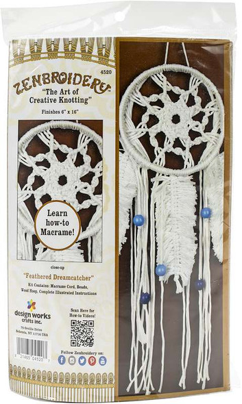 """Design Works/Zenbroidery Macrame Wall Hanging Kit 6""""X16"""" Feathered Dreamcatcher"""