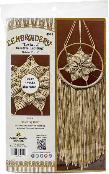 """Design Works/Zenbroidery Macrame Wall Hanging Kit 6""""X16"""" Natural Star"""
