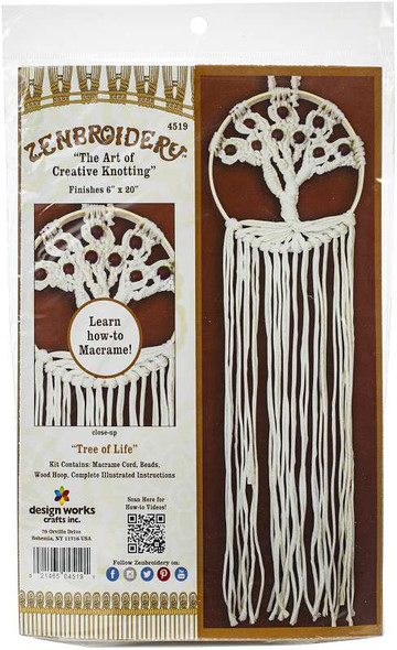 """Design Works/Zenbroidery Macrame Wall Hanging Kit 6""""X20"""" Tree Of Life"""