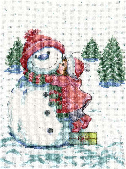 """Design World Counted Cross Stitch Kit 8""""X10"""" Red Hat Snowman (14 Count)"""